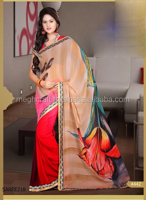 WHOLESALE PINK COLOR FUNCTION WEAR GEORGETTE PRINTED SAREE-TRADITIONAL PRINT GEORGETTE SAREE