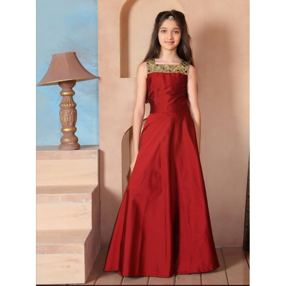 Trendy Maroon Colored Mirror Worked Silk Festival Girls Gown