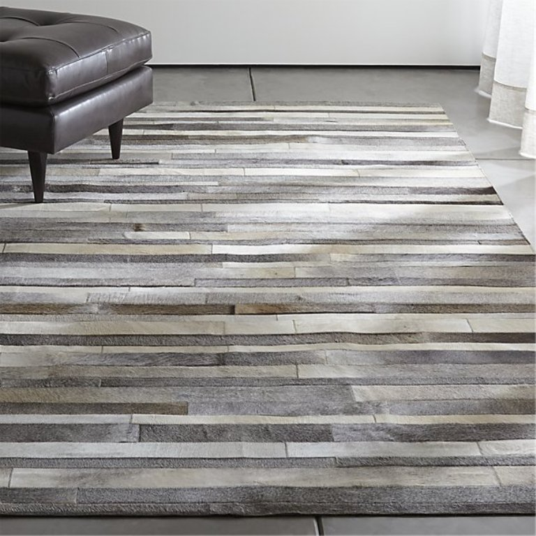 Grey Cowhide Rug Patchwork Cow Skin - Grey Stripes - Fresh Hides Made Patchwork