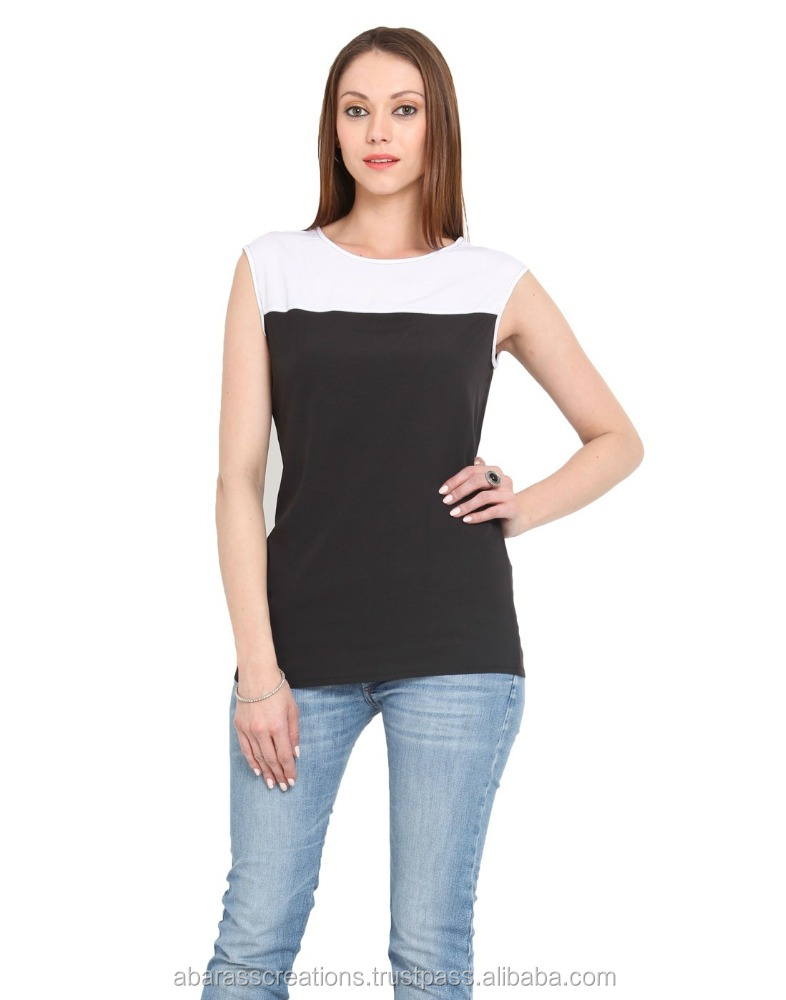 BLACK WITH WHITE NECK LADIES TOP