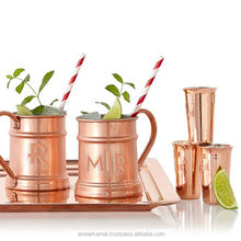 Set of 4 Copper Beer Mug with Brass Handle and Nickel Lined Moscow Mule Copper Beer Mugs