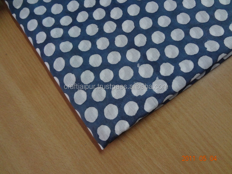 Handmade Indian Dot Printed Sewing Running Voile Cheap Running Wholesale Fabric Hand Block Print