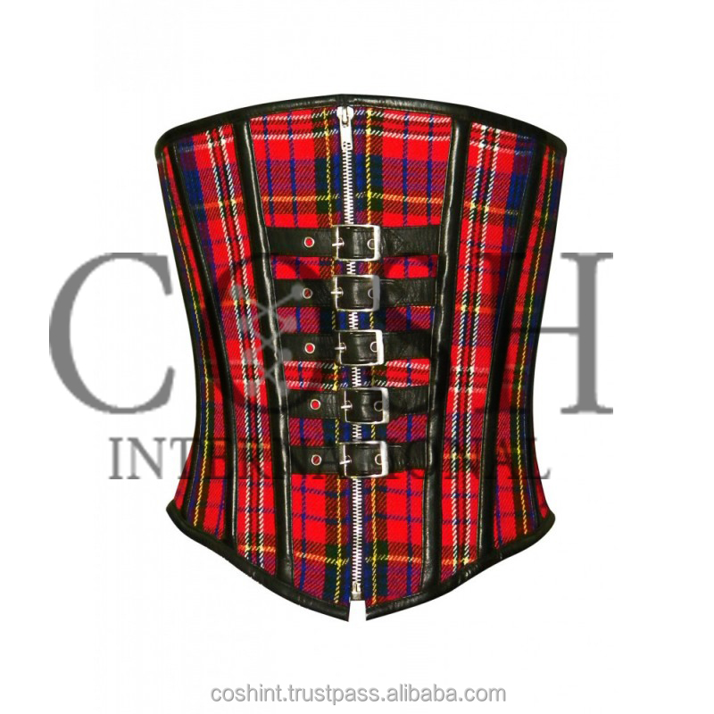 Underbust Plaid Cotton Steel Boned Waist Training Corset With Real Leather Buckles And Pippings Ci-2001