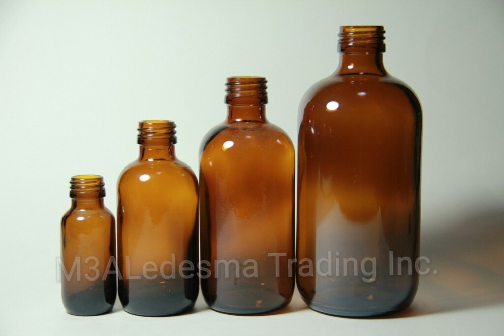 Amber Glass Bottles Boston Round Series