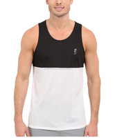 Regular fit Racer Tank Top color blocked design with mesh fabric at Bottom and scoop neck line