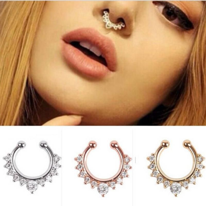 Punk Women Alloy Nose Hoop Nose Rings Body Piercing Jewelry Fake Septum Clicker Non Piercing Hanger Clip On Jewelry