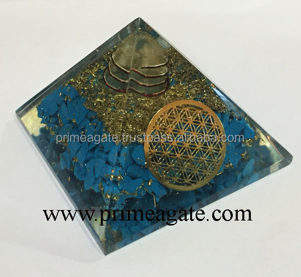 Orgone Turquoise Metal Flower Of Life Pyramids And Charge Crystal Point : Wholesale Root Chakra Reiki Healing Orgone Pyramids