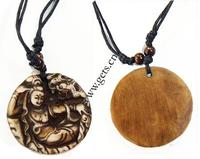 Buddhist Jewelry Necklace Resin with Wax Cord Flat Round yak bone 47mm Sold Per 17 Strand