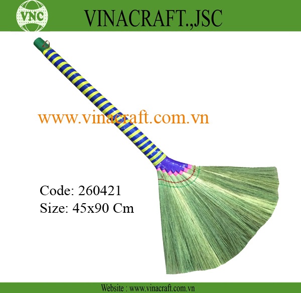 Natural tiger grass broom with color long handle