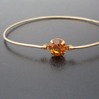 Golden Topaz Bangle , 925 Sterling Silver Bangle , Gemstone Bangle