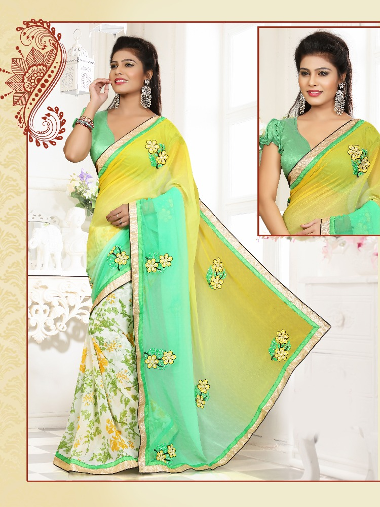yellow, liril green and off white colored chiffon and georgette saree.