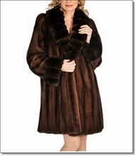 100% Real Mink Coat with Soft Brown Chinchula Sable Norka Minkcoat Fur Jacket FREE SHIPPING