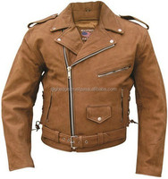 Mens Brown Buffalo Leather Motorcycle Jacket
