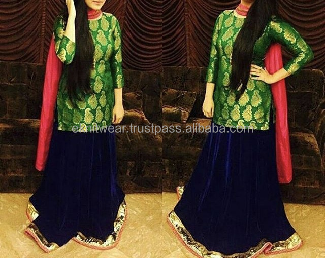 Girls Lehenga Choli (Velvet Sharara with Banarsi Jamawar Short Kameez)