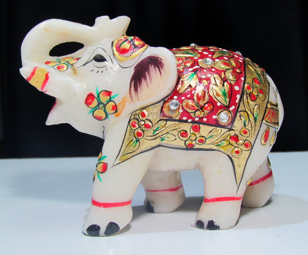 Marble Elephant With Jewellery Painting