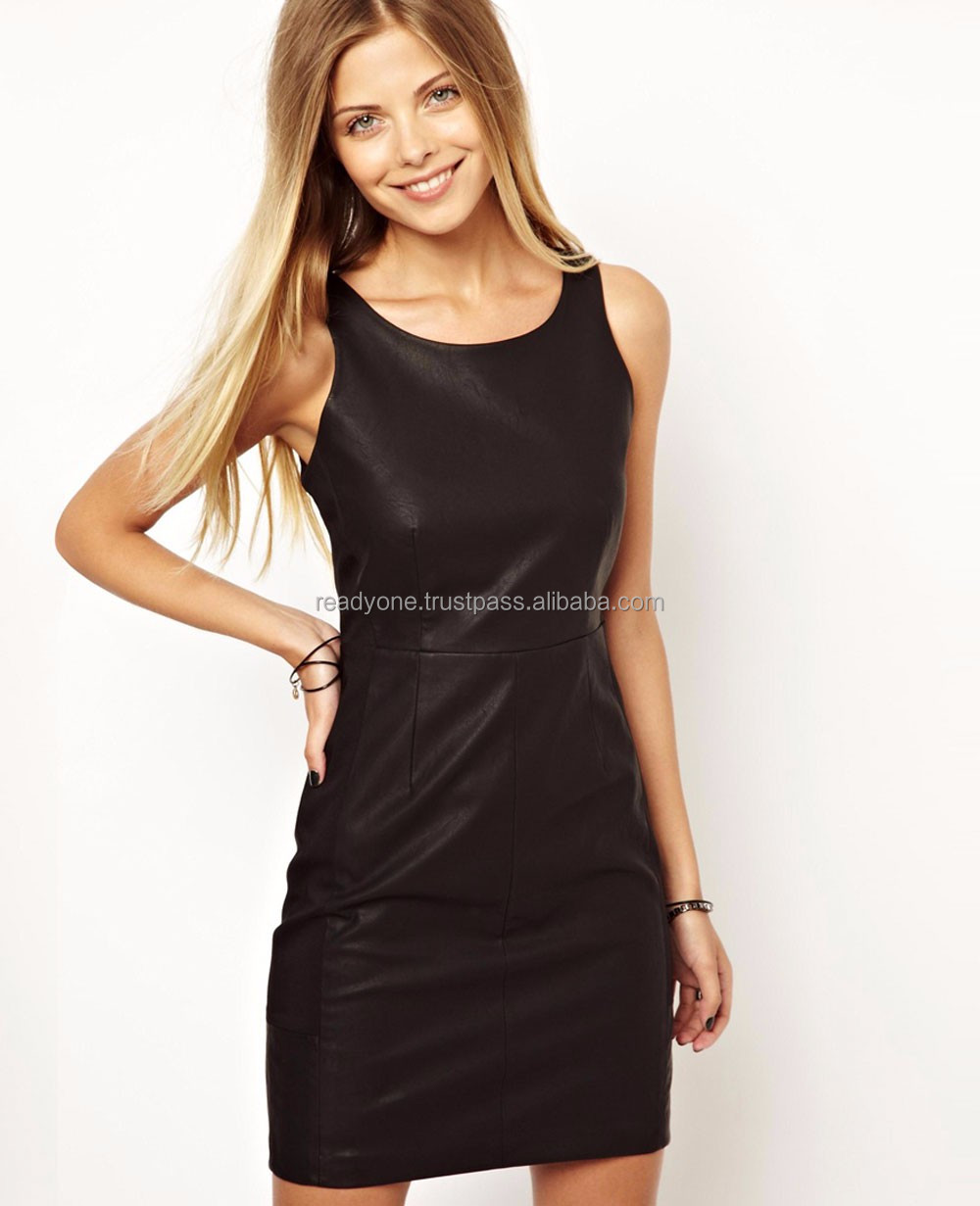 Hot sale lady fashion long night dress sexy black gown tight leather dress