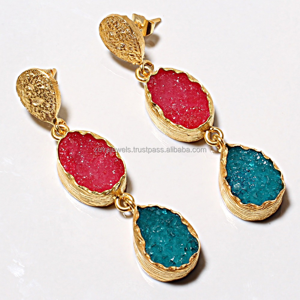 Latest Fine Fashion Jewelry Natural Sugar Druzy Stone Danglers Earring 2017 Design Wholesale India 1179