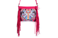 Gorgeous Cross Body With A Pink Deco Jaw Embroidered Pattern, Adorned With Pink Leather Tassel