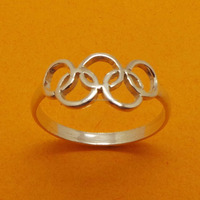 Handmade 925 Sterling SIlver Olympic 2016 Symbol Ring