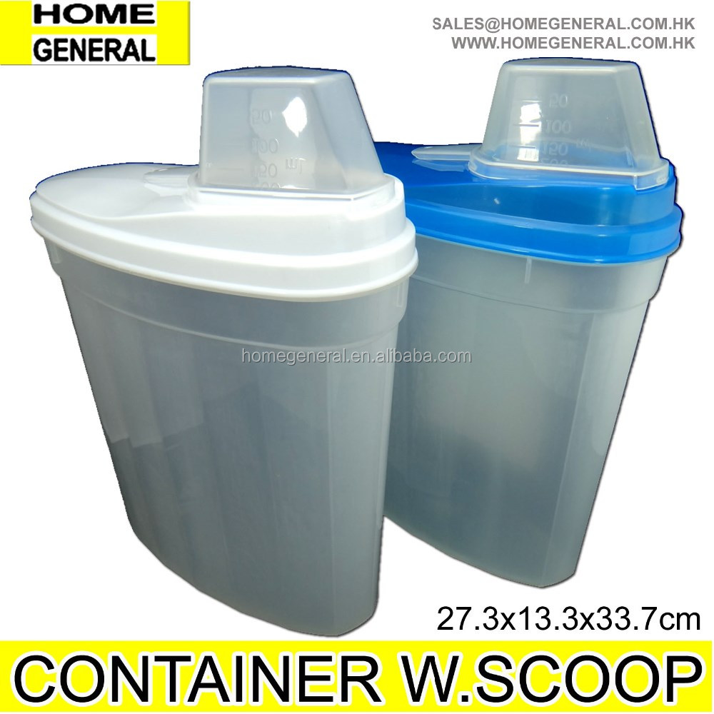 PLASTIC STORAGE CONTAINER WITH LID AND SCOOP