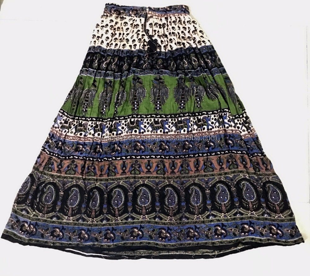 Cheap Skirts Beautiful Summer Skirt Gypsy Boho Ethnic Indian Traditional Vintage look Skirt Falda Jupe
