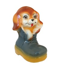 Ceramic shape dog money box coin bank cash box piggy bank Puppy in a shoe