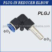 Pneumatic Plug-In PVC / Stainless Steel Reducer Elbow Fittings