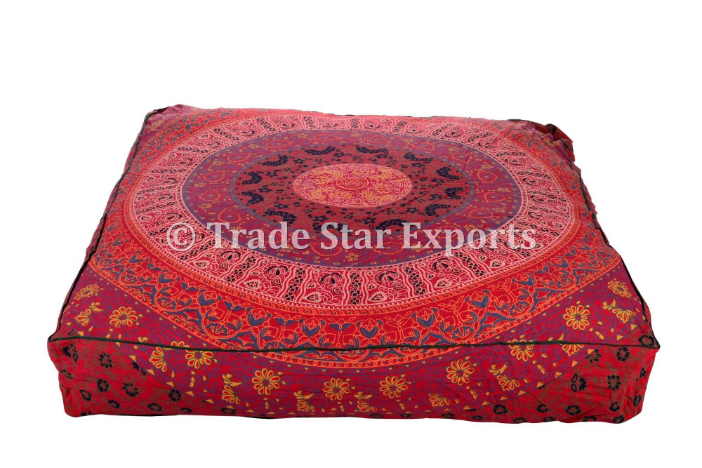 Ethnic Mandala Pet Bed Cushion Cover Cotton Meditation Throw Pillows Large Dog Bedding Cover Square Ottoman Poufs