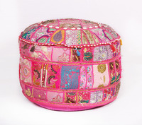 Decorative Vintage pouf Ottoman Patchwork Embroidered Footstool