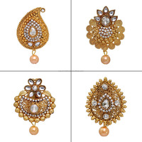 Wholesale Paan Shape CZ Studded Brooch for Women 4 Pec. Combo Pack