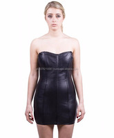 NEW 2015 BLACK BONDAGE LEATHER WOMEN'S DRESS CORSET STYLE SOFT LEATHER MATERIAL