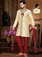 Miraculous Gold Jacquard Mens Churidar Suit/ Buy Kurtas Online/ Buy Kurtas On Alibaba