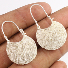 PLAIN 925 Sterling Silver Huggie Earrings Women's Basket Style Jewelry Exporter
