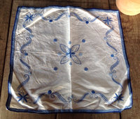 High demand Wholesale Embroidered Table Cover /Stunning blue embroidered vintage french linen piece 100 % quality based cover.