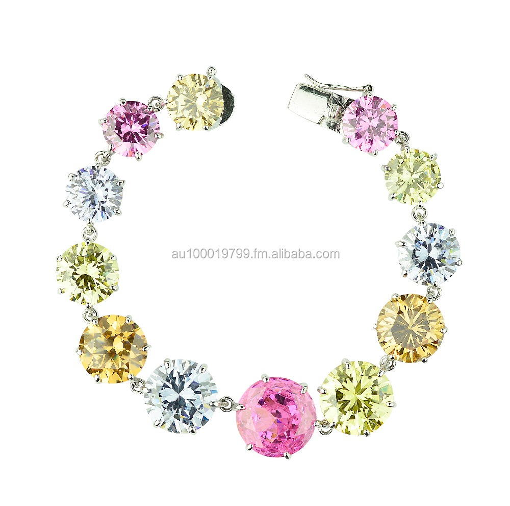 Multicolor Cubic halo design bridal bracelet