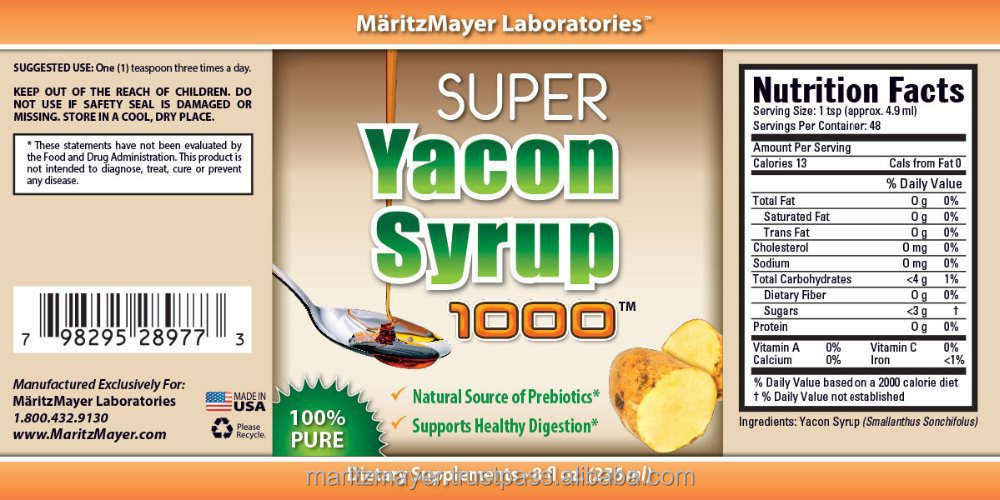 HEALTH FOOD Supplement Made in USA Private Label YACON SYRUP