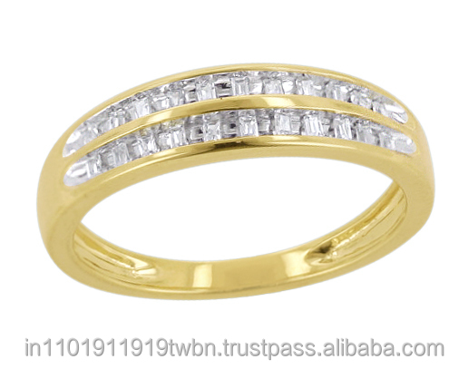 0.06 Ctw Baguette Cut Natural Diamond 10KT Yellow Gold Channel Set Band Ring By KP Sanghvi