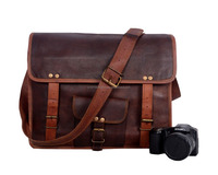 Real Leather Messenger Bag With Front Stylish Square Pocket For Use Tablet Laptop Case Bag Books Bag College & School Bags