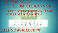 Custom Clearing Agent for Energy Saver Lamps and other lighting all types at Karachi and Islamabad Port 03041852346