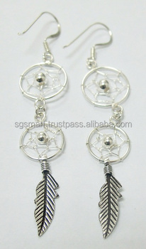 Silver 925 Dream Catcher Earring Design Jewelry Wholesale Factory in Thailand