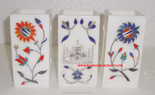 Marble Inlay Decorative Pencil Stand, Handmade Marble Inlay Beautiful Pen Stand