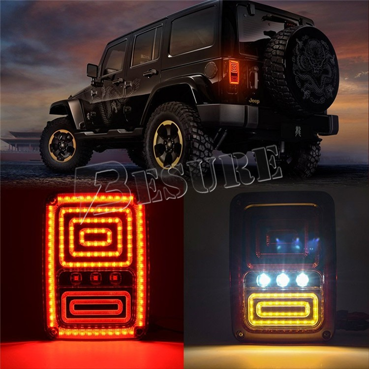 Black LED Rear Tail Lights L+R Signal Reverse Lamps Clear White/RedLED For Jeep Wrangler 2007-15