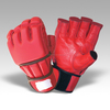Custom Grey and Red MMA half finger Padded Gloves leather Martial Arts