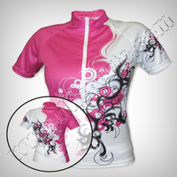 Women Half Sleeves 100% Polyester Stretchable Lycra Sublimated YKK full Zipped Cycle Jerseys - T-Shirts - Cycle Clothing