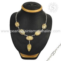 stately 925 Sterling Silver Jewelry Picture Jasper Gemstone Necklace Jaipur Wholesale Silver Jewelry Supplier India