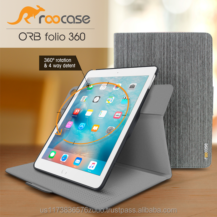 Top Quality roocase ORB 360 Rotating Folio Capa De Couro Do Sono/Recurso Wake para iPad Air 2/Air 1 caso Venda Inteira (Cinza de lona)