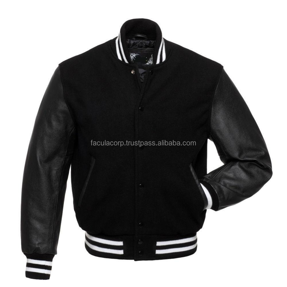 New Lamb Wool Varsity Baseball Style Jacket with Real Leather Sleeves FC-13120