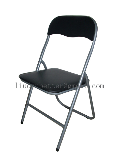 Promotion metal folding chair with PVC cushioned seat