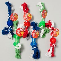 DOG TOY DOUBLE KNOTTED ROPE/ RUBBER CHEWS 3 STYLES 3 COLORS #66938P