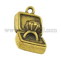 Valentine Special Gifts Ideas for Her Metal Alloy Pendants, Box, Antique Golden, 22x13x4mm, Hole: 2mm